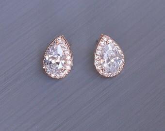 Rose Gold Wedding Earrings, Teardrop Stud Earrings, Crystal Stud Earrings, Rose Gold Stud Earrings, Wedding Stud Earrings, Stud Earrings