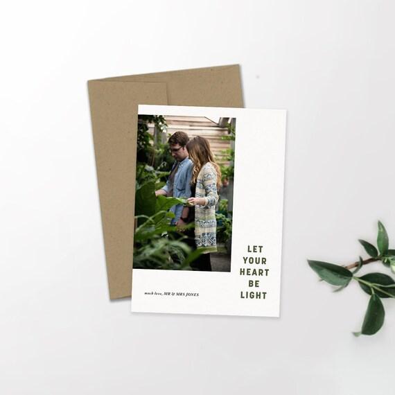 Modern Holiday Photo Card | Minimalist Holiday | Hipster Christmas | Newlywed Christmas | Let Your Heart Be Light | Christmas Card | Custom