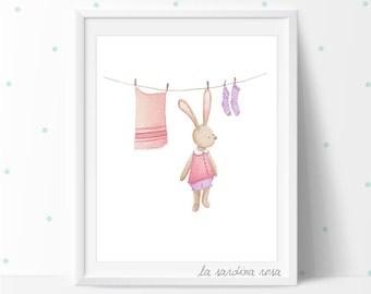 Baby nursery wall art, Bunny prints, Woodland nursery decor, Watercolor bunny nursery Illustration