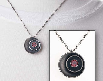Garnet Birthstone Necklace - Sterling Silver