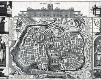 1770 Canvas Map of the City of Jerusalem Israel