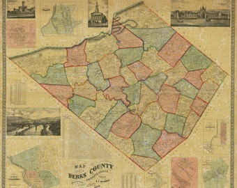 1860 Map of Berks County Pa Reading Lebanon Valley Railroad