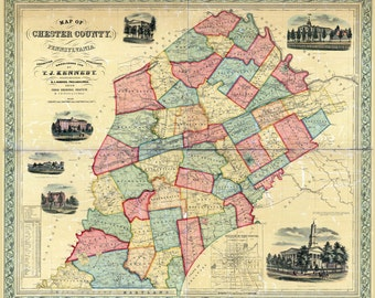 1856 Map of Chester County PA West Chester