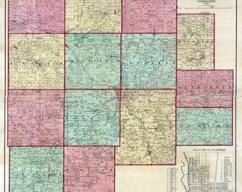 1848 Farm Line Map of Fairfield County Ohio Lancaster Winchester