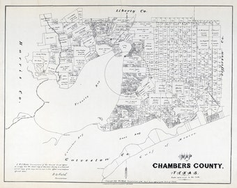 1879 Map of Chambers County Texas