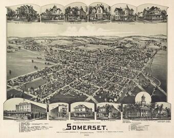 1900 Panoramic Map of Somerset Pennsylvania