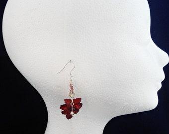 Dark Red Leaf Earrings, Autumn Dangle Earrings, Swarovski Fall Leaf Earrings, Sterling silver Autumn Jewelry, Fall Jewelry, Red jewelry