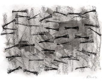 Abstract Art Print - mixed media, black