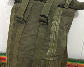 vintage heavy canvas backpack us army khaki hiking