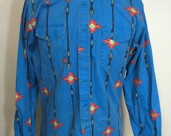 80's wrangler allover print western shirt made in usa size medium x-long