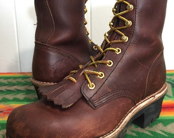 chippewa brown leather hiking boots womens size 9.5 #L73026