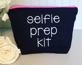 selfie prep kit, black and white, customize,Cosmetic bag, customize makeup bag, zipper pouch, gadget pouch,multipurpose, funny bag