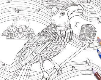 Good Singer - Bird Adult Coloring Page Print