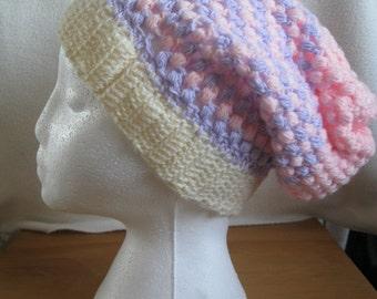Pastel Handmade Crochet Slouch Hat.