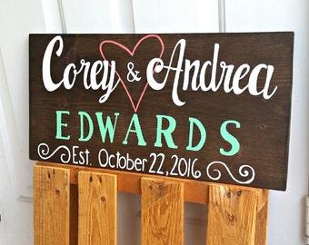 Custom Wedding Sign, Wedding Signs, Wood Wedding Sign, Wood Established Sign, Personalized Name Sign, Wedding Gift, Painted Wood Sign