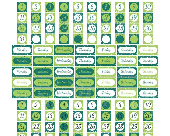 PRINTABLE Date Cover Planner Stickers Erin Condren Green Date Coverups ...