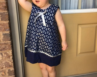 Silver anchors/navy blue size 3T
