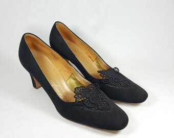 1960's Black Suede Like Shoes With Black Lace Inserts By Cosmopolitans. A Vilality Shoe All Parts Are Man Made Material