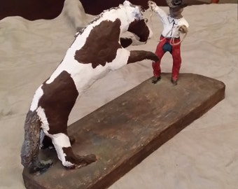 Folk Art Cowboy Sculpture