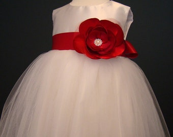 Red flower girl dress, special occasion dress, tulle dress, toddler party dress, 1st birthday, baby baptism, christening, pageant dress