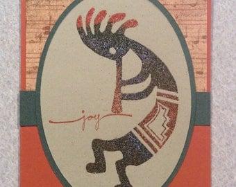 Handmade Card of Embossed Kokopelli - Joy