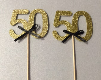 Birthday cupcake toppers, 50th birthday decorations, birthday decorations
