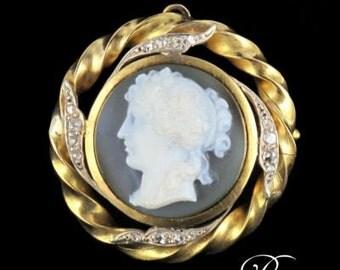 Brooch - Pendant cameo diamonds yellow gold 18K 19th