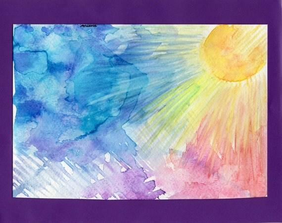 Abstract Sun and Sky Original Watercolor Painting / Handmade