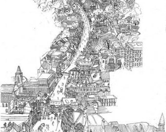 Lincoln High Street Townscape - Original Print - #bs2andbeyond