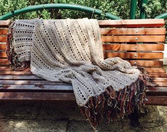 Free Shipping - Crochet Afghan , Crochet Blanket , Wedding Gift , Cuddle Blanket , Throw Blanket , Afghan ,Beige Decor Sofa Throw