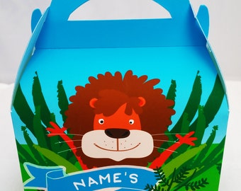 Jungle Theme Personalised Children's Party Box Gift Bag Favour
