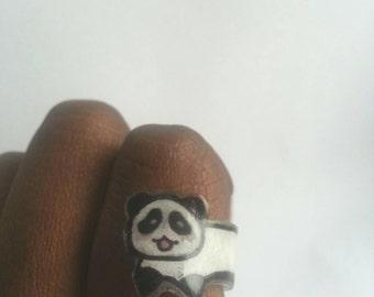 Handmade Plastic Panda Ring