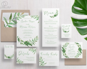 wedding invitation suite leafy greenery garden wreath green leaves custom