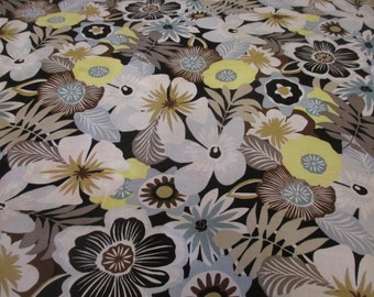 "Black & Brown ""Secret Garden"" Summer Floral Printed 100% Cotton Lawn Fabric. Price Per Metre."