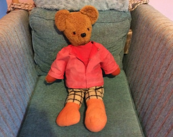 Handmade Rupert the bear teddy