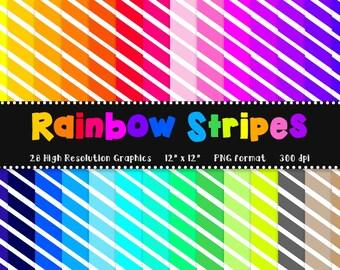 Rainbow + White Stripes Digital Paper Set - Scrapbook Paper - 28 Graphics - 300dpi - 12x12 - PNG - Commercial/Personal - Instant Download