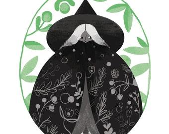 Garden Witch / A4 Illustrated Digital Art Print
