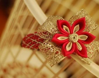 Pink and silver kanzashi headband