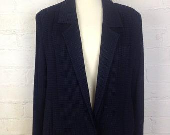 Vintage Givenchy Navy Nautical 1980's Lightweight Wool Mix Summer Waffle Jacket Size Large/XL