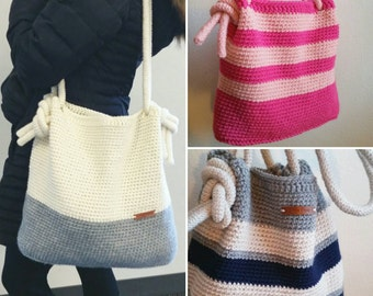Custom Tote! Choose one, two, or three colors. Handmade Crocheted Bag - Color Block Tote