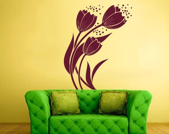 rvz509 Wall Vinyl Sticker Bedroom Decal Modern Decal Fashion Flowers