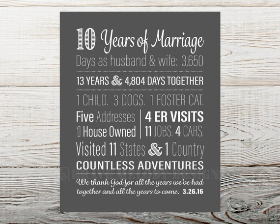 Wedding Anniversary Gift Ideas 10 Years : 10 Year Anniversary Gift, 10th Anniversary Gift, Years Together Sign ...
