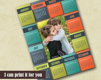 Family Photo 2017 Calendar Template, Photo Calendar Template, Poster Calendar Photoshop Template, 2017 Photo Calendar PSD Template Calendar