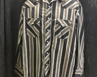Wrangler, black striped, western shirt, pearl snaps. FREE SHIPPING