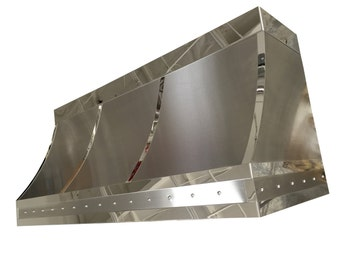 Stainless Steel Range Hood with Polished Stainless Straps and Rivet Detail