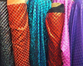 """Mermaid Fabric Hologram Fish Scales Stretch Spandex (58""""/60"""" wide) Sold by Yard"""