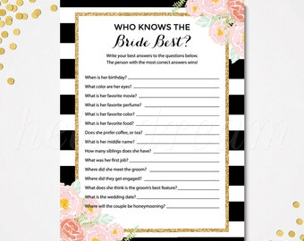 Who Knows The Bride Best, How Well Do You Know The Bride, Spade Inspired DIY Printable Bridal Shower Game - SKUHDG12