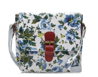 SALE! Slim Handbag - Oilcloth bag- Buckle Satchel- Ladies shoulder bag- Oil cloth Purse- Girl handbag- Laminated cotton- Blue floral peony