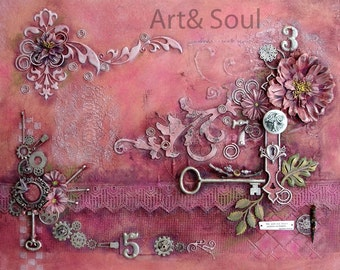 Serenity - 16 X 20 mixed media canvas panel  in coral