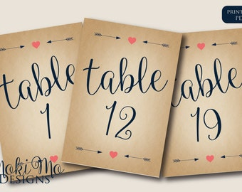 "Table Numbers 1 - 20_Rustic/Navy Blue/Coral/Instant Download_4""x6"""